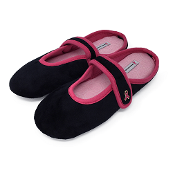 Black/Pink Slippers-One Size Fits Most Thumbnail