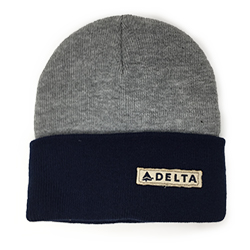 Grey/Navy Knit Beanie Thumbnail