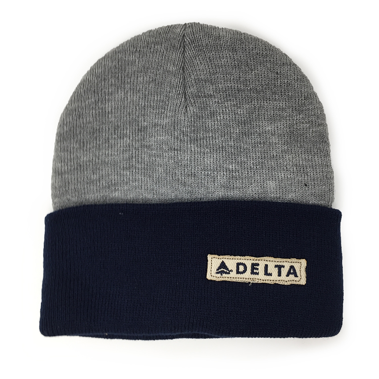 Grey/Navy Knit Beanie