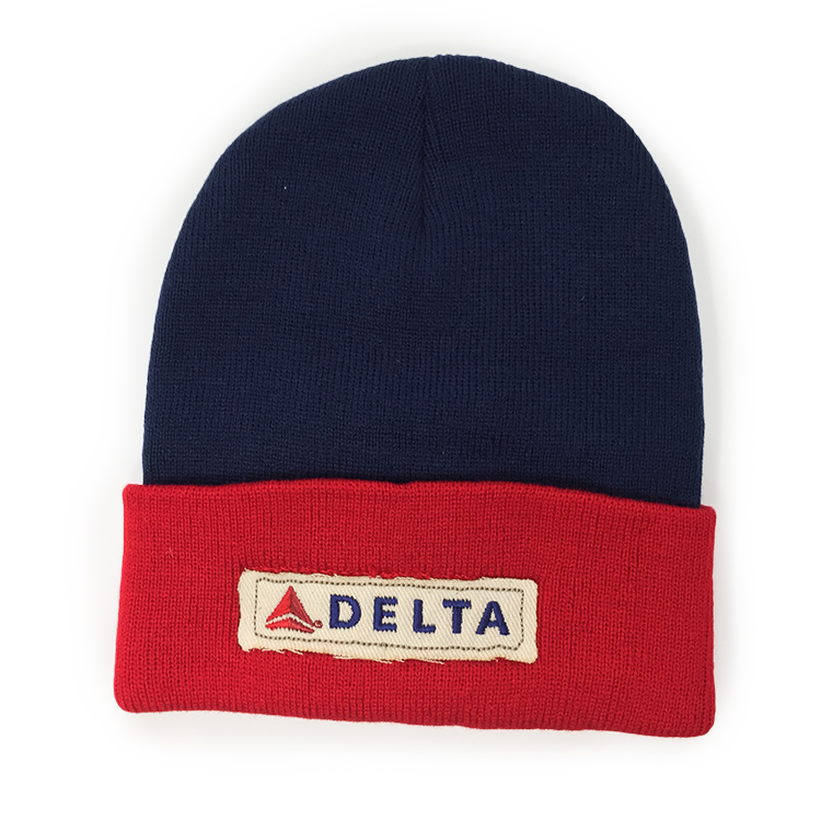 Navy/Red Knit Beanie