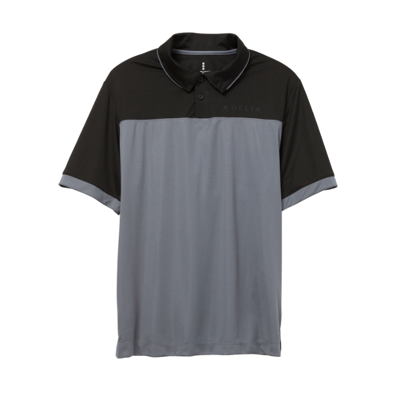 Black and Grey Color Block Polo - Men's Cut